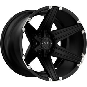 4 New 22 Inch Tuff T 12 22x10 8x165 1 8x6 5 25mm Satin Black Wheels Rims