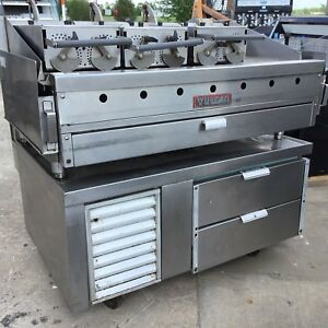 Vulcan 48 Natural Gas Flat Top Griddle W 3 Clamshells Refrigerated Chef Base