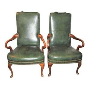 Pair Of Leather Arm Chairs Vintage Library Office Goose Neck Made Usa
