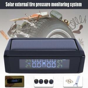 Solar Power Car Auto Tpms Tire Pressure Lcd Monitor System Wireless 4 Sensor Us