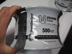 500 Roll Southwire Stranded Insulated Thhn Copper Wire Black 14 Awg Gauge