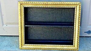 Antique Italian Gilt Frame Shadow Box Wall Hanging W 2 Black Leather Shelves