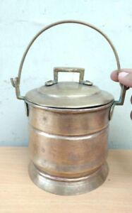 Antique Ancient India Made Brass Farm Milk Jar Can Container Pot Vase Vintage Us
