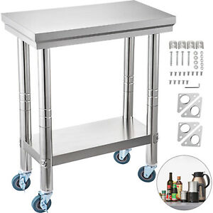 24x12 Kitchen Stainless Steel Work Table Storage Capacity With 4 Caster Wheels