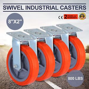 4 X Heavy Duty Swivel Casters Polyurethane Wheel Scaffold 8 x2 W Side Brake