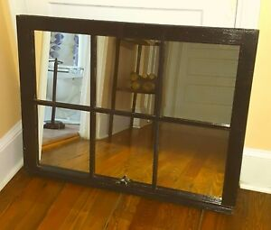 Architectural Salvage 6 Pane Old Window Sash Frame Black W Mirrors 27x36