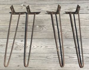 Old Vtg Mid Century Iron Hair Pin 22 Metal Table Leg Salvaged Set Lot Of 4