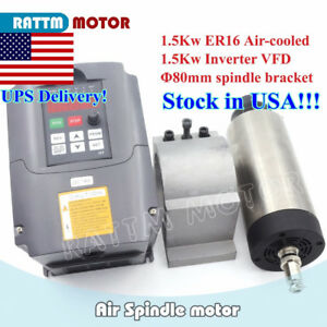usa Stock cnc 1 5kw Air cooled Spindle Er16 1 5kw 220v Inverter Vfd 80mm Clamp