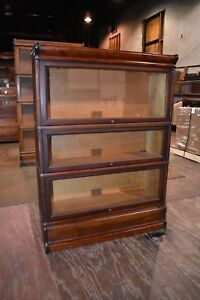 Antique Mahogany 3 Section Barrister Lawyer S Bookcase Globe Wernicke