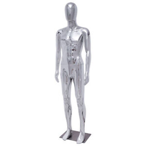 Male Full Body Mannequin Plastic Abstract Egg Head Glossy W base