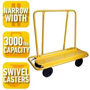 Steel Drywall Sheetrock Plywood Cart 3000 Lb Load Capacity Rolling Service Dolly