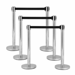 6pcs Stanchion Set W Black Retractable Belt Posts Queue Pole Crowd Control Barr