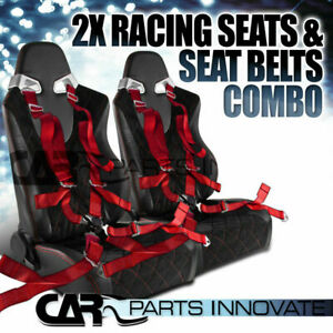 Jdm T R Black Pvc Red Checked Stitch Racing Seats Red Camlock Seat Belts