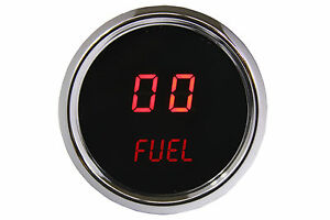 2 1 16 Universal Digital Fuel Gauge Red Leds Chrome Bezel Made In The Usa