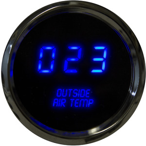 Digital Outside Air Temperature Gauge W Sender Blue Leds Chrome Bezel Warranty