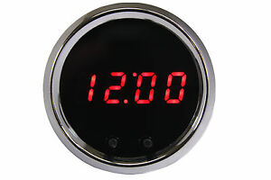 2 1 16 Universal Automotive Digital Clock Red Led Gauge With Chrome Bezel