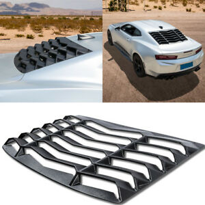 Matte Black Abs Rear Window Louver Hood Scoop Vent Cover Sun Shade For Camaro B