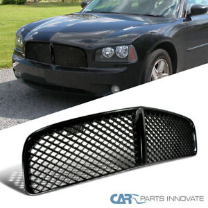 For 05 10 Dodge Charger Mesh Honeycomb Glossy Black Front Bumper Hood Grille 1pc Fits 2010 Dodge Charger