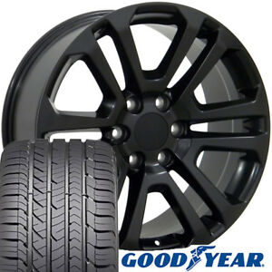 22 Rims Tires Fit Gm Chevy Sierra Silverado Satin Black Wheels Gy Tires