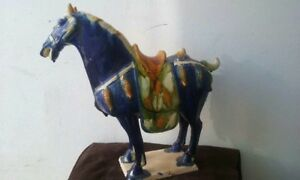 Gorgeous Condition 5 Color Glaze Sancai Blue Horse Statue