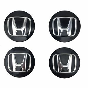 Oem Set Of 4 Honda Accord Civic Crv Crz Odyssey Pilot Black Center Caps