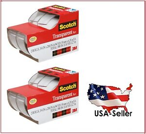 2 Lots Of 2ea 3m Scotch Clear Office Transparent Tape 3 4 250 4 Tapes Total