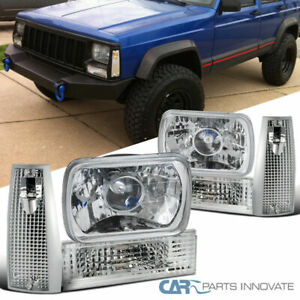 84 96 Jeep Cherokee Clear Projector Headlights Corner Lights Bumper Lamps Pair
