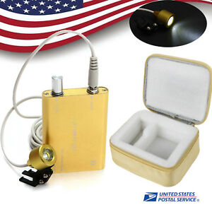 Yellow Dental Led Head Light Lamp For Dental Surgical Loupes carry Cloth Case U