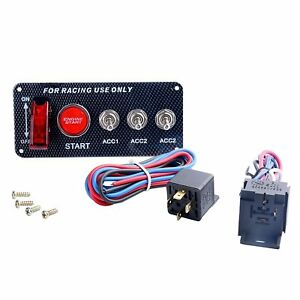 12v Racing Car Engine Start Push Button 5 In 1 Toggle Ignition Switch Panel Ign