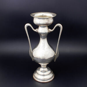 Art Deco Walker Hall Engraved Sterling Silver 454gr 2 Handle Urn Posy Vase