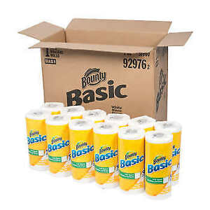 Bounty Basic Paper Towel Rolls 1 ply White 30 count