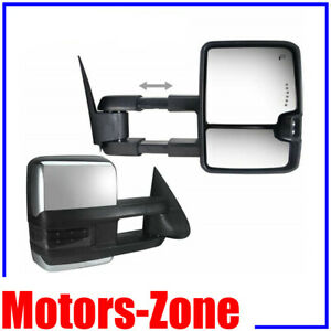 Chrome 88 98 Chevy Gmc C K Tow Mirrors Power Smoke Led Signals Backup Lamp