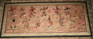 Huge Impressive Antique Panel Japanese Embroidery Kabuki Theater Gold Background