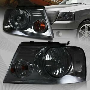 For 2004 2008 Ford F 150 Chrome Housing Smoke Lens Headlights W Clear Reflector