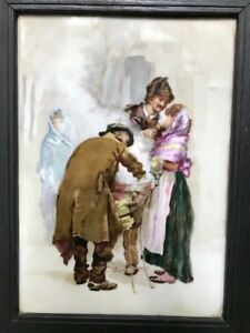 Rare Hand Painted Porcelain Plaque Large