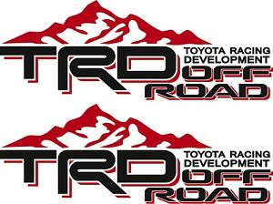 Toyota Trd Off Road Mountain Pair Red And Black Vinyl Vehicle Decals