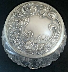 Vintage Sterling Silver Lid Abp Cut Glass Bowl Box Vanity Dresser Powder Jar