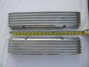 Vintage 6 Fin Aluminum Cal Custom Valve Covers Offset Holes Chevy Small Block