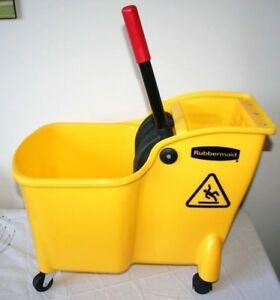 New Rubbermaid Professional Plus Quality Mop Bucket Yellow 28 Qt Easy Lift