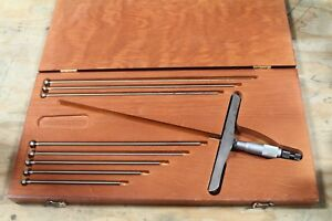 Starrett Depth Micrometers 445 1 To 6 Depth Used With Case