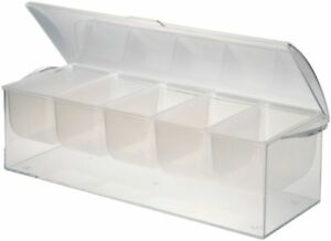 Chilled Condiment Server Caddy Holder Dispenser Container Cooler Bar 5 Trays