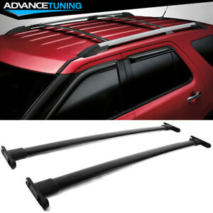 Fits 11 15 Ford Explorer Roof Rack Cross Bar Black 2pc Luggage Carrier