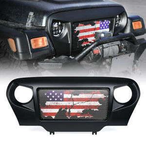 Angry Spartan Hood Grille Flag W Mesh Grille For 1997 2006 Jeep Wrangler Tj Lj