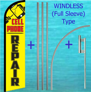 Cell Phone Repair Windless Banner Flag Pole Mount Kit Tall Feather Swooper