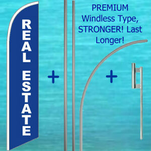 Real Estate Windless Banner Flag 15 Tall Premium Pole Mount Kit Feather Sign