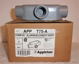 Box Of 5 Appleton Egs Gedney T75a Threaded T Type Aluminum Conduit Body 3 4