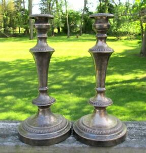 12 Pair Shabby Vintage Antique Silverplate Copper Candlesticks Candle Holder
