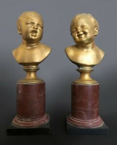 Pair Of Gilt Bronze Cherub Bust Mounted On Marble
