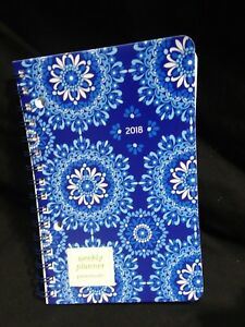 Weekly Planner Spiral Bound 2018 Navy Bl Medallion Wiro 5x8 Punctuate Lot Of 17
