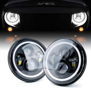 Xprite 7 80w Round Led Headlights Angel Halo Ring For 97 18 Jeep Wrangler Jk Tj